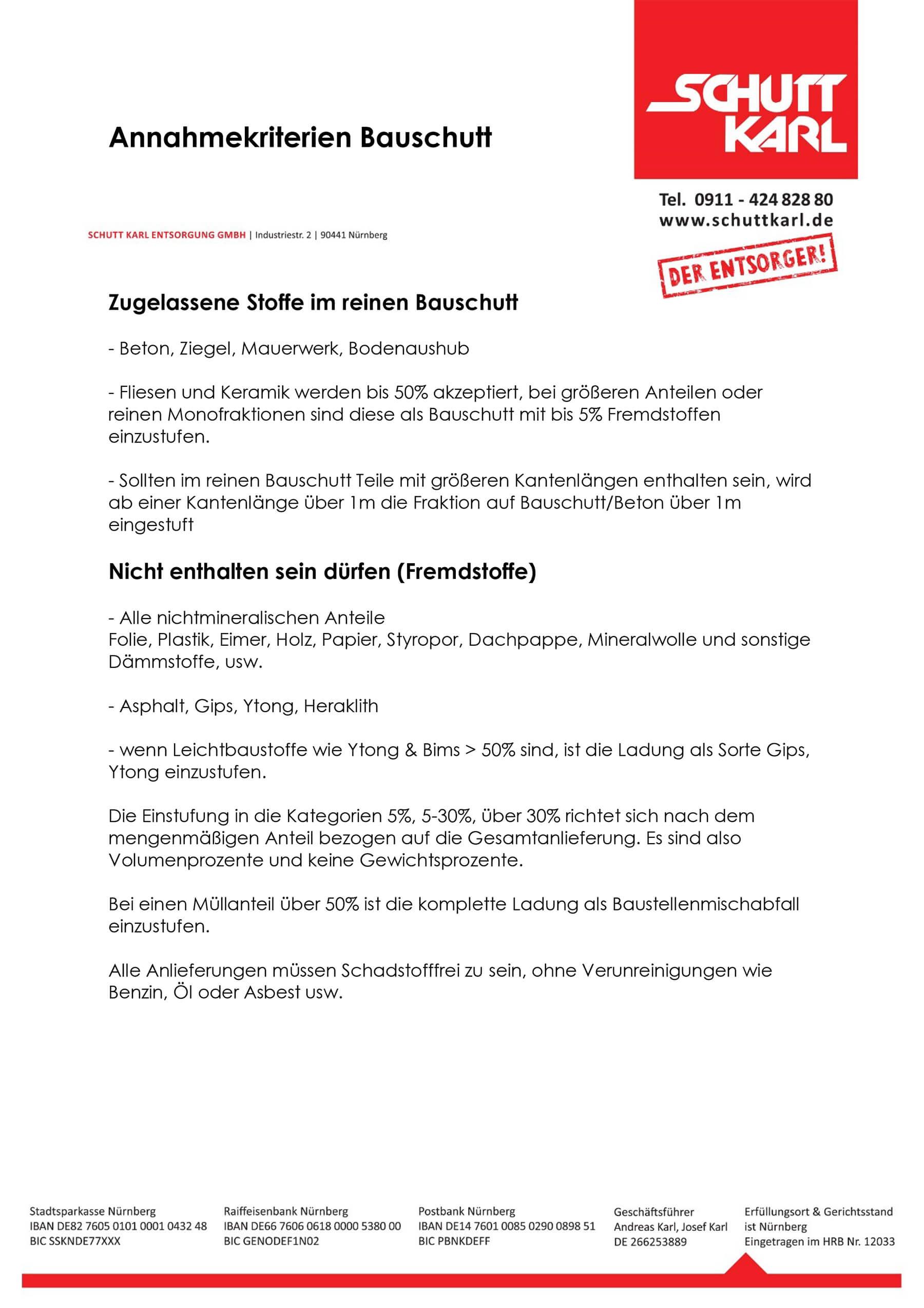 Schutt Karl | Annahmekriterein Bauschutt