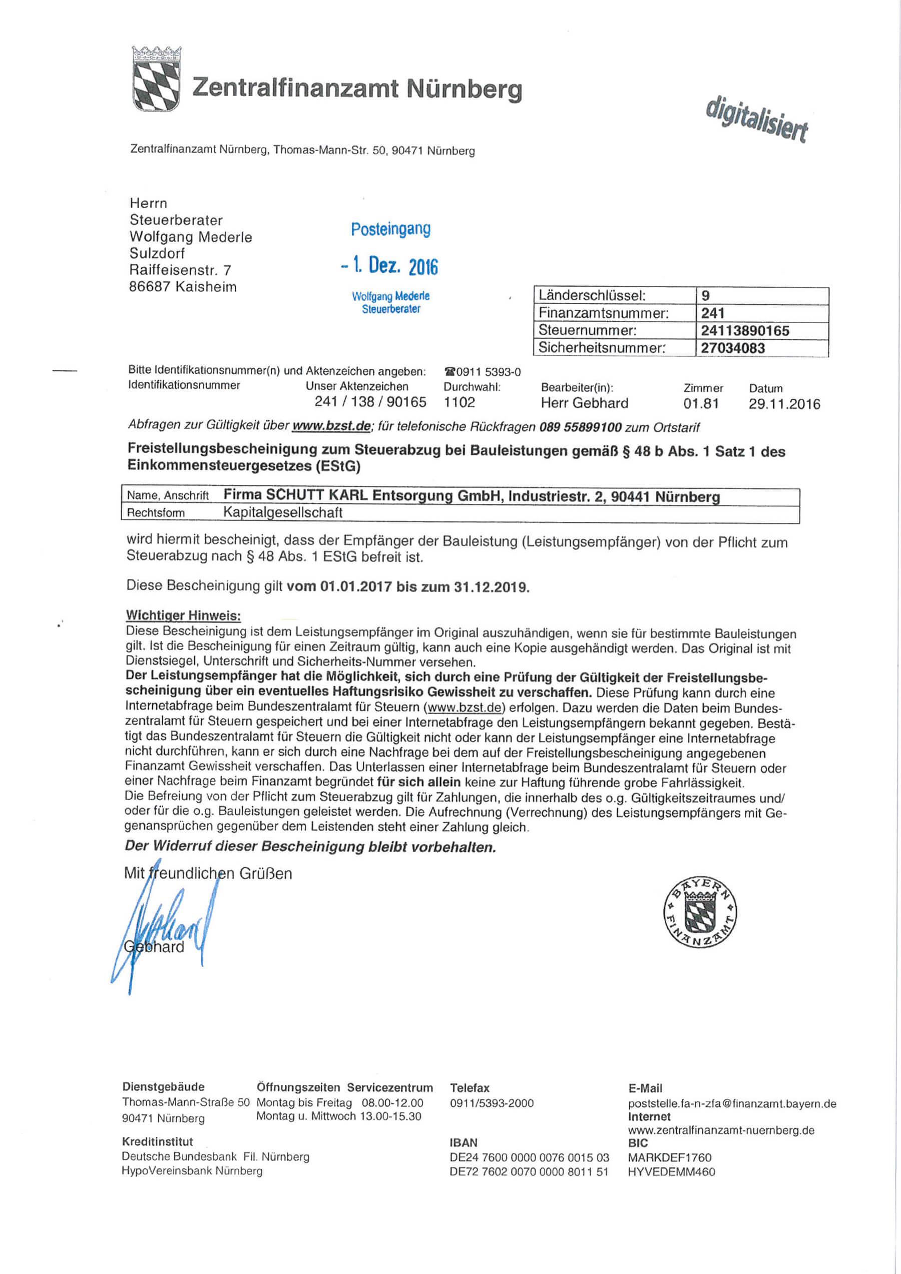 Schutt Karl | Freistellungsbescheinigung 2017-2019