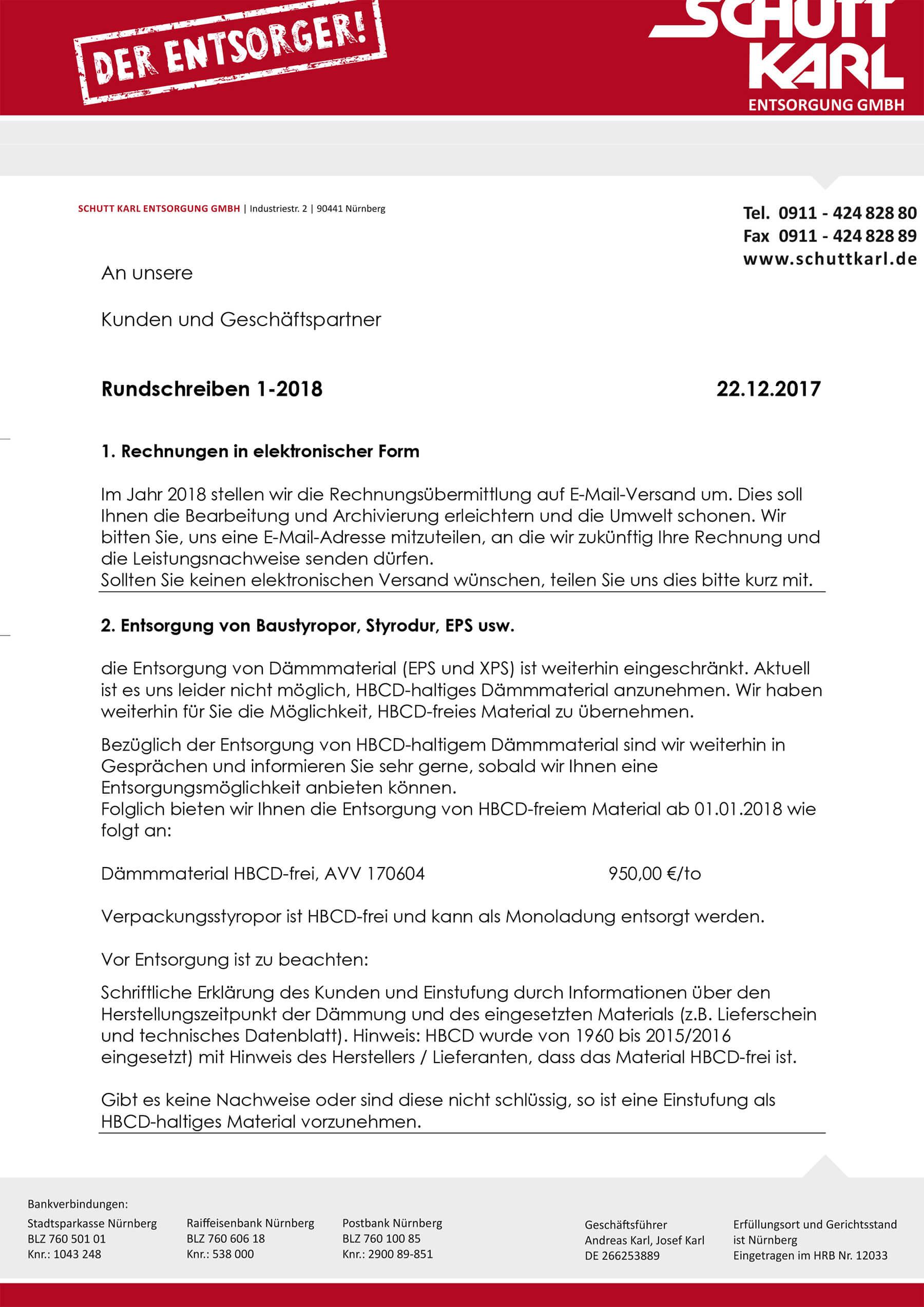Schutt Karl | Rundschreiben Kunden 2018