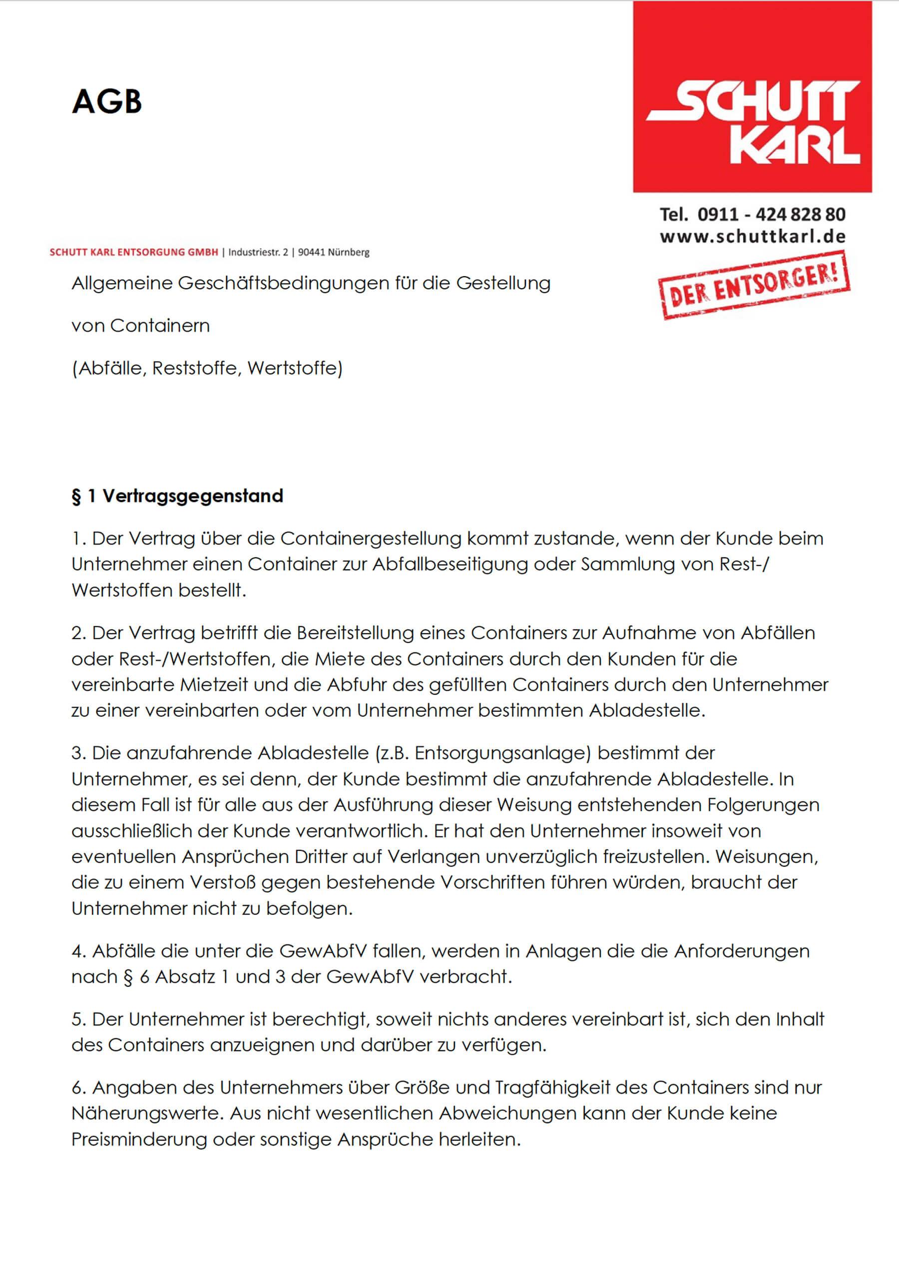 Schutt Karl | AGB